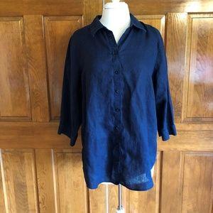 Chcos' Navy Blue Linen Button Front Shirt Sz. 3